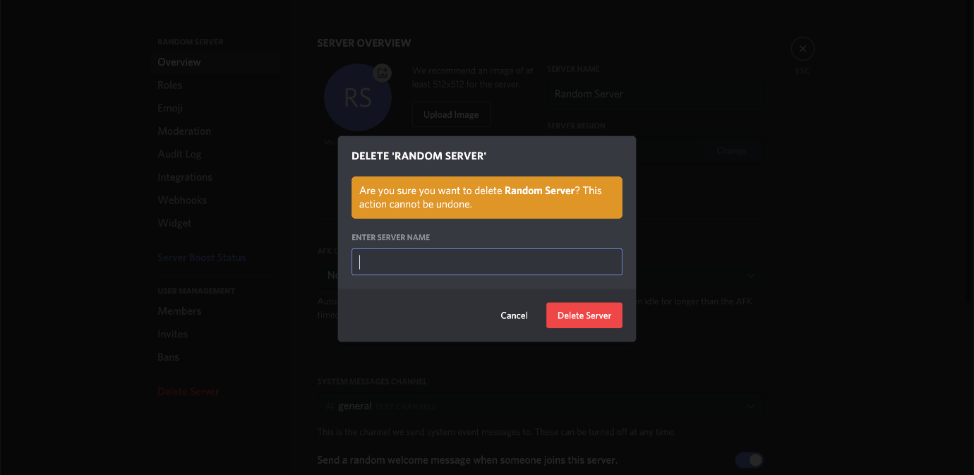 Image result for how to delete discord server